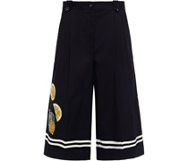 Embellished Pleated Cotton-blend Twill Culottes