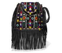 Fringed embellished cotton-canvas and leather shoulder bag