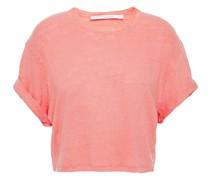 Cropped T-shirt aus Leinen-jersey mit Flammgarneffekt
