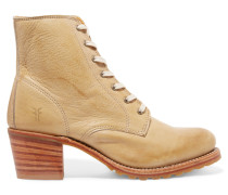 Sabrina Leather Ankle Boots Beige