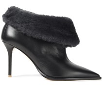 Tomi 85 Shearling-trimmed Leather Ankle Boots