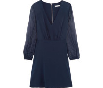 Cary silk-chiffon and silk-blend crepe de chine mini dress