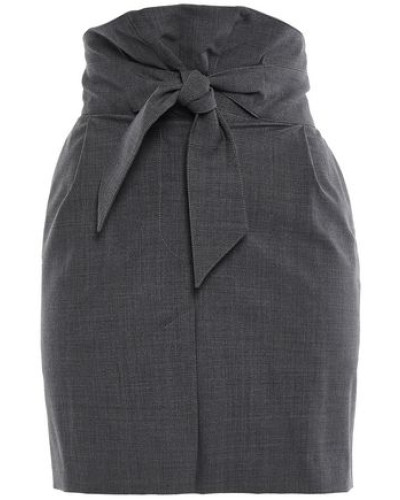 Knotted Wool-blend Mini Skirt Anthracite