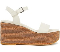 Bead-embellished Leather Wedge Sandals