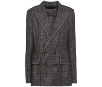 Salvatore Double-breasted Open-back Checked Bamboo Blazer