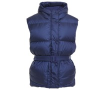 Belted Quilted Shell Hooded Vest