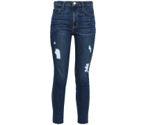 Woman Distressed High-rise Skinny Jeans Dark Denim