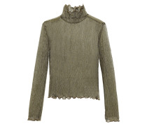 Elmeria Ruffle-trimmed Metallic Ribbed-knit Top