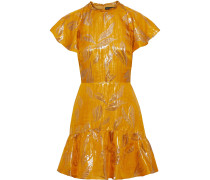 Sorrene Ruffled Metallic Jacquard Mini Dress