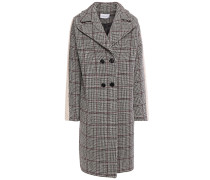 Double-breasted Faux Fur-trimmed Prince Of Wales Checked Wool-blend Coat
