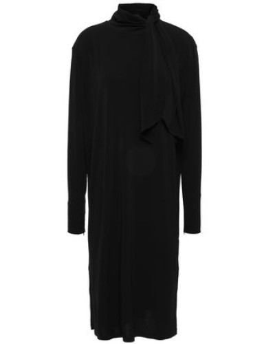 Knotted Stretch-crepe Dress Black