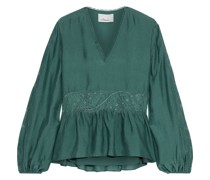 Lace-paneled Gathered Silk Blouse