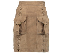 Lace-up Buckle Suede Mini Skirt Sand