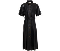 Pleated Perforated Faux Leather Shirt Dress