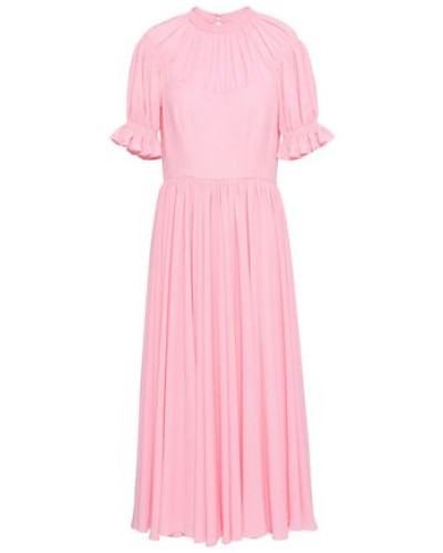 Ruffle-trimmed Gathered Textured-crepe Midi Dress Baby Pink
