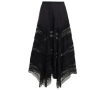 Benna Crocheted Lace And Cotton-blend Voile Midi Skirt