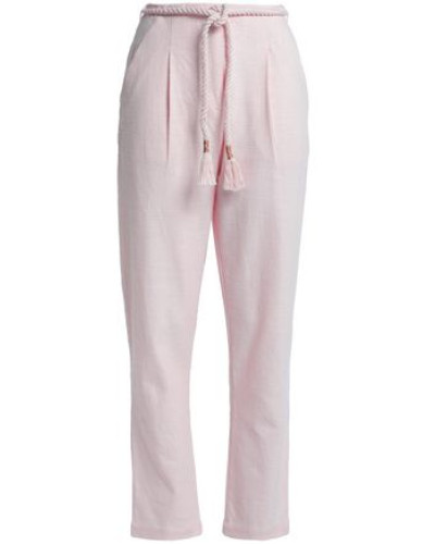 Belted Cotton-canvas Tapered Pants Baby Pink