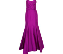 Ruched Satin-crepe Gown Violett