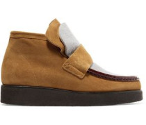 Kingston paneled suede and felt ankle boots