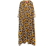 Gige Metallic-trimmed Printed Cotton And Silk-blend Voile Kaftan
