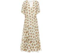 Gina Gathered Printed Cotton Midi Wrap Dress