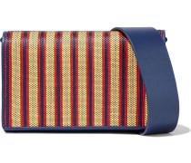 Soirée Striped Faux Raffia-paneled Leather Shoulder Bag