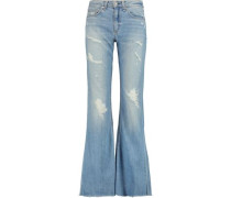 Beach mid-rise distressed flared jeans