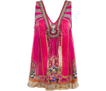 Woman Embellished Gathered Printed Silk Crepe De Chine Top Fuchsia