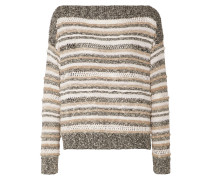 Striped Knitted Cotton-blend Sweater Mehrfarbig