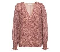 Bolona Shirred Printed Silk-chiffon Blouse