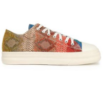 Snake-effect leather sneakers