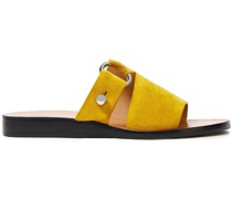Woman Ring-embellished Suede Sandals Mustard