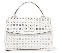 Ava Metallic Cutout Textured-leather Tote Weiß