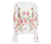 Gathered Embellished Cotton-voile Blouse