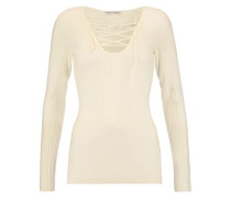 Lace-up ribbed merino wool-blend top