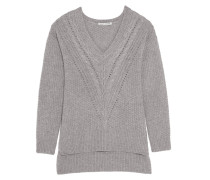 Pointelle-trimmed Knitted Sweater Grau