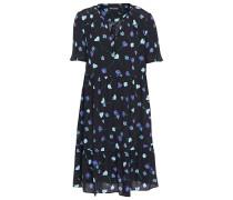 Gerafftes Kleid aus Crêpe mit Floralem Print