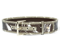 Snake-effect And Textured-leather Belt Braun