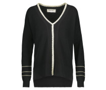 Crochet-trimmed Cotton And Cashmere-blend Sweater Schwarz