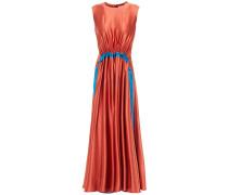 Gathered Two-tone Silk-satin Midi Dress