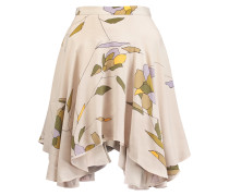 Pleated Printed Crepe De Chine Mini Skirt Mehrfarbig