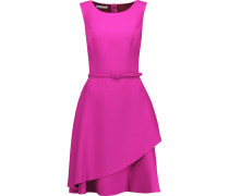 Belted Tiered Wool-blend Dress Magenta