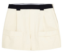 Basketweave Cotton Shorts Ecru