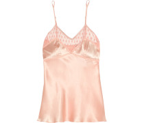 Angel Trumpet Lace-trimmed Tulle And Silk-satin Camisole Puder