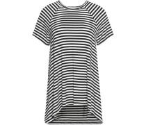 Draped two-tone striped jersey top