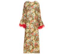 Camelia Kaftan aus Floralem Leinen-jacquard mit Federn