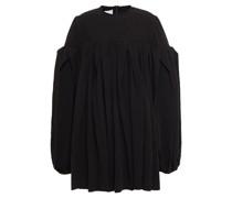 Plissiertes Oversized-minikleid aus Baumwoll-seersucker