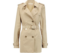 Coated Cotton-blend Trench Coat Beige
