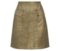 Metallic Denim Mini Skirt Mattgold