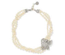 Silver-tone faux pearl and crystal necklace